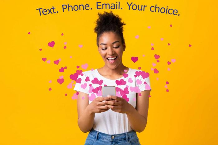 Text Phone Email. your choice image